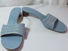 """MICHELLE D"" BLUE SIZE 7.5 LEATHER SLIP-ON SANDAL SHOES - PLEASE SEE ALL PICTURE #MICHELLED #OpenToe"
