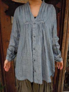 *KAPITAL* リネンストライプ クロッキーシャツ  LInen shirt by Kapital 19,740 yen (approx $198)