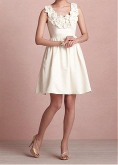 GLAMOROUS SATIN A-LINE SCOOP NECKLINE KNEE LENGTH BRIDE RECEPTION DRESS WITH HANDMADE FLOWERS BEADINGS
