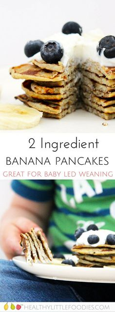 These banana pancakes are made with only two ingredients. They are gluten free, dairy free and refined sugar free. Perfect for baby-led weaning. #babyledweaning #dairyfree #glutenfree #norefinedsugar via @hlittlefoodies