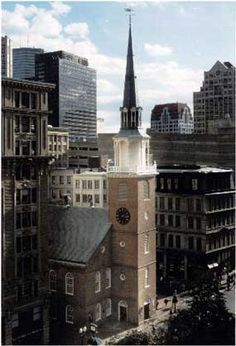 The Old South Meeting House was the largest building in colonial Boston.  On the brink of the Revolution, patriots flocked there to debate the issues of the day.  And then, on December 16, 1773, they acted.  Over 5,000 angry colonists gathered at Old South to protest a tax on tea.  After hours of debate, Samuel Adams gave the secret signal that launched the Boston Tea Party.  The Sons of Liberty, disguised as Indians, raced to the wharf and dumped 342 chests of tea into the harbor.