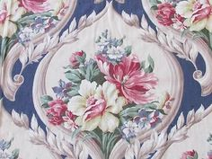 5 3 4yds Oh So Romantic French Blue Bouquets Acanthus Barkcloth Era Fabric | eBay Vintageblessings
