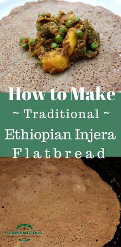 Ethiopian Bread, Ethiopian Injera, Ethiopian Cuisine, Indian Food Recipes, Whole Food Recipes, Vegetarian Recipes, Cooking Recipes, Healthy Recipes, Ethnic Recipes