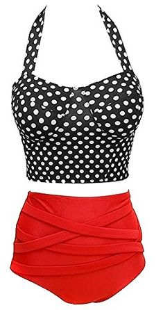 VonFon Womens Vintage Hight Waist Tankinis Polka Dots Swimwear Bathing Suit Vonfon http://www.amazon.com/dp/B00LO8YNTQ/ref=cm_sw_r_pi_dp_EwY5tb10K607D