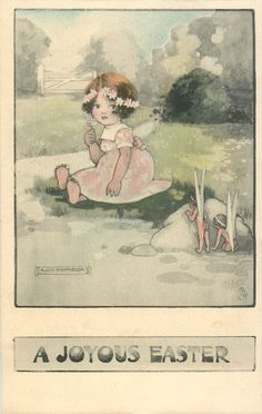 Full Sized Image: A JOYOUS EASTER girl sits on grass observed by two fairies from behind a stone Vintage Greeting Cards, Vintage Postcards, Forest Glen, Graffiti, Easter Art, Gif Animé, Fairy Art, Vintage Easter, Faeries