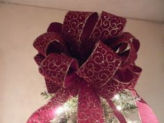 Large Christmas Tree topper burgundy with gold glitter swirl design by creativelycarole on Etsy