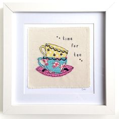Tea Cups framed wall art picture gift, personalised stitched fabric applique. Embroidery hoop. Time for tea for two, you're my cup of tea