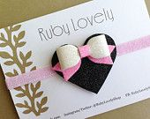 Baby/Girls Glitter Heart Headband/Hair-Clip, Pink and Black Headband, Pink and White Glitter Bow, Pink and Black Hair Clip, Ruby Lovely Shop
