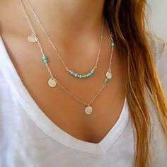 Premium quality genuine turquoise and hammered disc necklace set with tarnish resistant gold or silver fill chains.