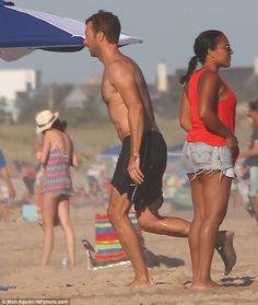 Chris Martin shows off lean physique as he enjoys beach with daughter Martin Show, John Martin, Black Swim Trunks, Chris Martin Coldplay, One Pilots, Beach Day, Cool Bands, My Boys, Viva La Vida