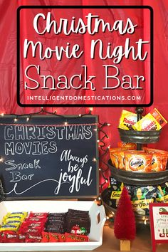 We set up this Snack Bar for Christmas Movies Night at our house to add a little festive atmosphere for the season. We watch Christmas movies throughout the holiday season so we set up in a place that we can restock and enjoy this atmospher for weeks. Great idea for parties too. Use our ideas to create your own movie snack bar at home. More ways to enjoy Christmas movies shared in this post as well. #movienightathome #datenightathome #movieparty Family Christmas Movies, Christmas Movie Night, Movie Night Snacks, Food Bars, Snack Bar, Christmas Countdown, Meal Planning, Food To Make, Celebrations