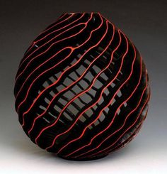 "J. Paul Fennell || ""The Edge"". Citrus with black and red acrylic paint - turned, carved & pierced"