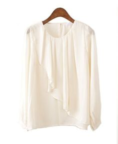 Collarless Chiffon Blouse with Ruffle Wrap Front Details