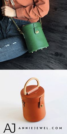 04ed2a3e3f4 Genuine Leather Bucket Bag Wooden Clutch Purse Lederen Geschenken, Leder  Knutselen, Handgemaakt