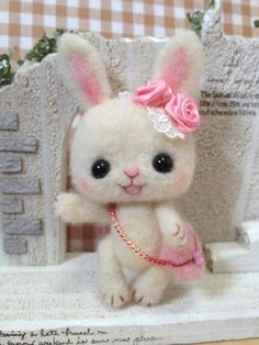 Super Adorable Needle Felted Rabbit with Accessories