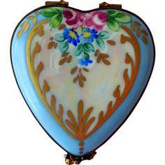 Vintage Hand-Painted, Porcelain Limoges Trinket Box, Heart-Shape