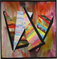 """""""Seasons"""" – The design was inspired by the four seasons of Connecticut. The 36"""" X 27"""" piece uses only my hand dyed fabrics. The background uses the Confetti Technique which can be reviewed at http://CarolREatonDesigns.blogspot.com.  My goal was to create the feeling of """"chunks"""" of color…"""