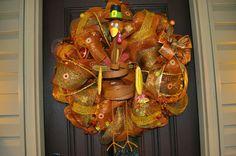 Thanksgiving Wreath, Thanksgiving, Thanksgiving Decoration, Thanksgiving Decor, Turkey, Turkey Wreath, Wreath, Deco Mesh Wreath, Fall