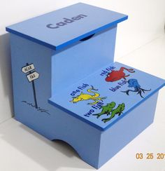 Step Stool-Dr. Suess Inspired-One Fish Two Fish Red Fish Blue Fish-Personalized