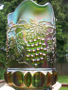 Emerald Green Northwood Grape and Cable Pitcher Carnival Glass Antique Glassware, Fenton Glassware, Glass Pumpkins, Green Grapes, Vintage Carnival, Glass Company, Glass Collection, Milk Glass, All The Colors