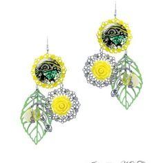 Boucles d'oreilles jaune et vert - boucles d'oreilles printemps été fait main par milacréa