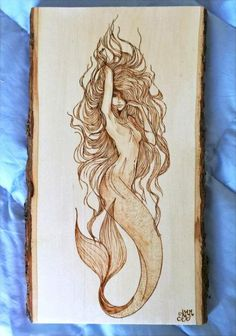Mermaid plaque - Personalized Pyrography - Wood Burning Art - Natural Bark Border - 13 - Individual wood burned by hand. All items in my shop are done by me personally. I am a passionate a - Mermaid Drawings, Mermaid Tattoos, Mermaid Art, Mermaid Pinup, Siren Tattoo, Watercolor Mermaid, Tattoo Drawings, Body Art Tattoos, Art Drawings