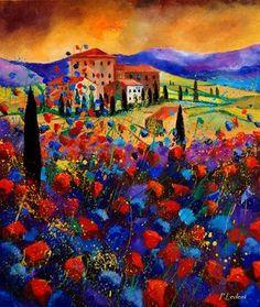 "Saatchi Online Artist Pol Ledent; Painting, ""tuscany poppies 67"" #art"