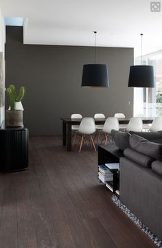 Charcoal tiles, (include modern chandeliers) and skylight - will match our dining table and white leather chairs perfectly""
