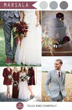 vintage marsala and grey wedding color combo ideas 2015 by Diana Alcaraz