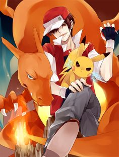 Pokemon Red, Charizard and Pikachu