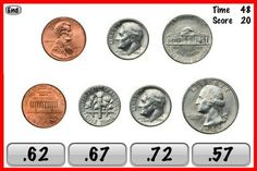 Coins Genius – Crazy Coin Counting Flash Cards Game For Kids ($0.99) Kids have fun learning to add coin values of pennies, nickels, dimes, and quarters. The fun begins with a 60 second game in which randomly chosen coin combinations (5, 6, or 7 coins) are displayed. The child must add up the coin values as quickly as possible and select the correct amount. Points are given for each correct answer. Penalties for incorrect answers.