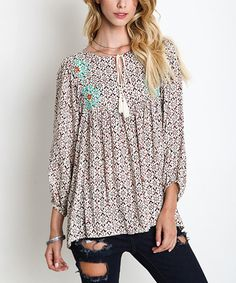 Look at this UMGEE U.S.A. Ivory Floral Embroidered Peasant Tunic on #zulily today!