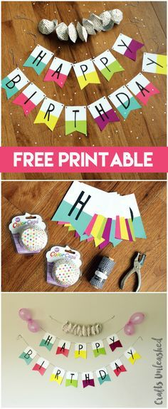 Free Printable Banner: Happy Birthday Pennants - Consumer Crafts printables printables for adults worksheet kindergarten birthday printable birthday printable cards Birthday Banner Design, Happy Birthday Banner Printable, Birthday Banner Background, Birthday Banner Template, Happy Birthday Bunting, First Birthday Banners, Birthday Diy, Happy Birthday Crafts, Pokemon Birthday