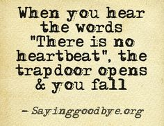 I have personally been told these words.  Unfortunately with my job I have been with others as they have experienced this as well. There are no words to explain the pain that is felt as you hear the words spoken that your child is gone, and that reality sinks in.