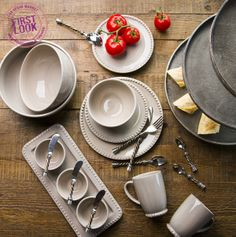 Serve it up at #LVMkt: New hand-painted stoneware from the GG Collection, a division of the Gerson Companies, is shown with Trios twisted metal serveware.