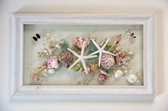Shell Art Fused on Glass, Seashell Picture for Beach House Decor, Pink Shell Arrangement on Glass Art, Spring Window Hanging by on Etsy Sea Crafts, Sea Glass Crafts, Sea Glass Art, Resin Crafts, Seashell Art, Seashell Crafts, Seashell Display, Window Art, Window Hanging