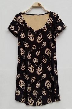 The tunic featuring skull print. Scream Movie, Ghost Faces, Movie Party, T Shirt Vest, Skull Print, Platforms, Cloths, Scary, Floral Tops