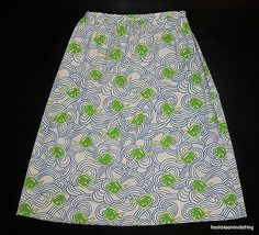 Vtg The Vested Gentress Fish Skirt White Blue Green Hand Screened Fits M L | eBay