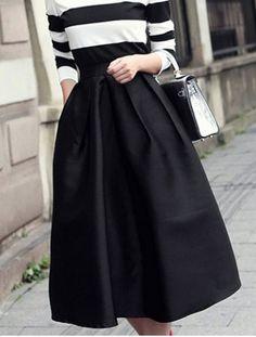 Vintage Style Solid Color  Side Zipper Women's Skirt
