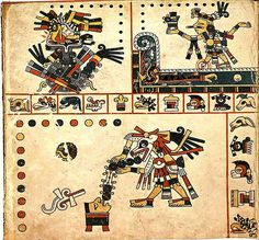"The top right corner of this image ""shows how Tezcatlipoca tempted Cipactli the Earth Monster to the surface of the great waters by using his foot as bait. In swallowing his foot (s)he lost her lower jaw. Hideously crippled (s)he was unable to sink and thus the earth was created from her body."""