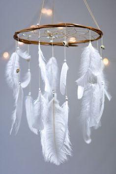 White Dreamcatcher Mobile Mint and White Dream by HippiebyViki