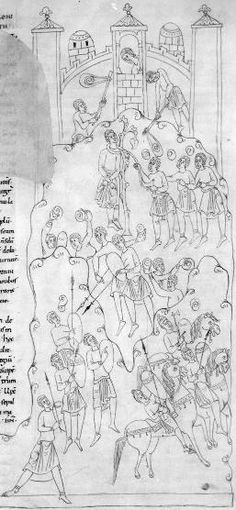 Roda Bible, Spain, 11th C. Biblia Sancti Petri Rodensis. Ms Latin 6 (3) folio 134r. Fighting around Bethulia. Note the staff-slings.