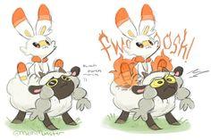 Might need to keep Scorbunny away from Wooloo if its got that fluffy ability. Pokemon Team, New Pokemon Game, Ghost Pokemon, Pokemon Fan Art, Pokemon Comics, Pokemon Memes, Pokemon Funny, Pokemon Stuff, Pokemon Soulsilver