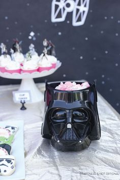 Girly Star Wars Birthday Party Ideas: Fun addition to a candy display - Darth Vader!