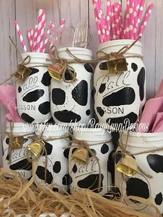 Featured ETSY Products – Birthday Party Ideas for Kids and Adults Cow themed party jars, birthday party centerpiece, home decor, desk decor Farm Animal Birthday, Cowgirl Birthday, Farm Birthday, Cow Birthday Cake, 16th Birthday, Cow Birthday Parties, Birthday Party Centerpieces, Cowgirl Party Centerpieces, Birthday Decorations