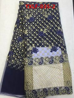 (5yards/pcs) 2017 beaded fabric trend lace embroidery in navy blue with gold thread&floral embroidery for sewing  Jan-10-2016