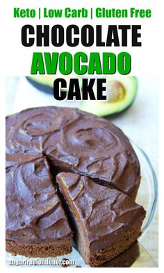 Sink your fork into a slice of fudgy chocolate avocado cake topped with lashings of silky-smooth chocolate avocado frosting! never guess this decadent-tasting dessert is sugar free, dairy-free and Keto (and there's a Paleo option, too). Desserts Keto, Keto Friendly Desserts, Sugar Free Desserts, Sugar Free Recipes, Low Carb Recipes, Dessert Recipes, Breakfast Recipes, Recipes Dinner, Sugar Free Cakes