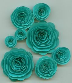 paper flowers - tiffany blue