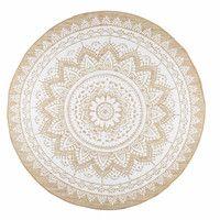 Tapis rond en coton blanc et jute D.90cm   Maisons du Monde