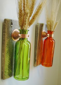 Colored Bottle Pair each mounted on Recycled wood for unique rustic wall decor bedroom decor kitchen decor on Etsy, $25.00